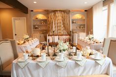 Clear living room furniture out and rent tables and linens to host a family thanksgiving in a small space.