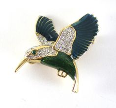 Vintage Hummingbird Brooch Enamel Rhinestone Pin Blue by paleorama, #hummingbird #jewelry
