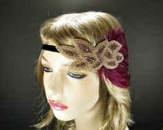 1920's Flapper Headband Great Gatsby Headpiece by FlowerCouture, $35.00 #greatgatsby #flapper #costume #feather #headband