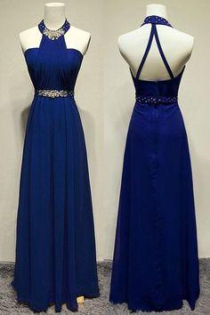 U0147,High Quality Prom Dress,A-Line Prom Dress,Chiffon Prom Dress,Halter Prom Dress, Beading Prom Dress