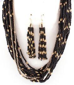 Black & Goldtone Seed Bead Multi-Strand Necklace & Earring Set