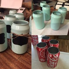 DIY Coke can craft I turned mine into a DIY Herb garden that is in front of my kitchen window. You can also make adorable DIY centerpieces. I used my silhouette cameo to cut out black vinyl tags to label the herbs. Love how it turned out: