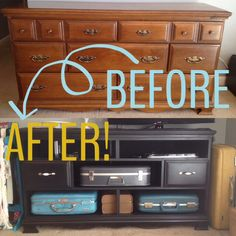 Old dresser turned into TV stand! Removed drawers for suitcases, fresh paint and hardware.