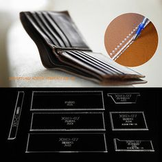 Acrylic Stencil Clear Template For DIY Leather Craft Case/Wallet/Purse Pattern Coin Purse Pattern, Leather Wallet Pattern, Backpack Pattern, Diy Leather Craft Tools, Leather Crafts, Mini Car, Handbag Patterns, Purse Wallet, Leather Purses
