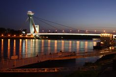 File:Night shot of port and Nový most in Bratislava. Bratislava, Night Shot, Golden Gate Bridge, Shots, Travel, Viajes, Traveling, Trips, Tourism