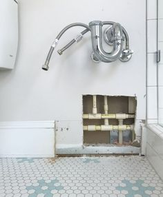 And Then The Bathroom Started Flooding (Young House Love) Young House Love, Diy Home Repair, Home Improvement, Wall Lights, Shelves, Flooring, Bathroom Ideas, Walls, Decoration