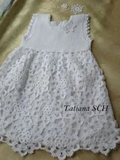 To This 2 of 2 Angels Cradle: Crochet fairytale dress. Crochet Girls, Crochet Baby Clothes, Crochet For Kids, Crochet Lace, Crochet Dresses, Knitting For Kids, Baby Knitting, Fairytale Dress, Little Girl Dresses