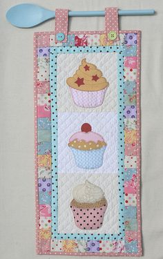 "The Cupcake Quilt....Pinning this for the spoon idea to hang a small ""hanger"" quilt"