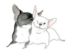 French Bulldog Valentine's Day Card - Frenchie Kiss - Cute French Bulldog Card or Love Note from INKPUG