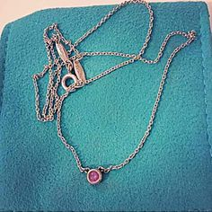 """SALETiffany&Co CBTY Pink Sapphire Pendant Authentic Tiffany&Co Elsa Peretti color by the yard pink sapphire pendant. Sterling silver, 16"""" long chain. Total carat weight is .18. Gently used but no signs of wear. Comes with pouch and boxNO TRADES Tiffany & Co. Jewelry Necklaces"""