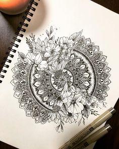 half sleeve tattoo designs and meanings - tattoos sleeve - breakthrouhfloral sleeve but remove mandala circle - Mandala Art, Mandalas Drawing, Mandala Sketch, Mandala Sleeve, Mandala Nature, Image Mandala, Sunflower Mandala Tattoo, Mandala Tattoo Shoulder, Circle Mandala