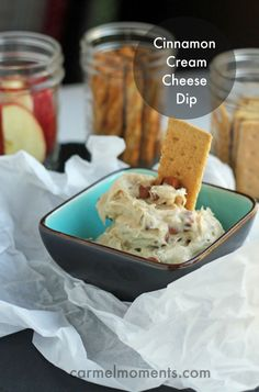 Cinnamon Cream Cheese Dip - 6 ingredients - Only 6 minutes. Amazing and easy!