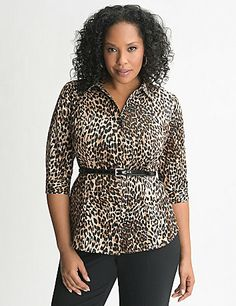 Tasteful for the office, but fierce enough to paint the town red, our classic button-down shirt features wild animal print for fashionista-approved attitude! In crisp cotton sateen to keep the look sophisticated, this sleek 3/4 sleeve shirt fits and flatters with bust darts and contoured seaming. *Does not include belt. lanebryant.com