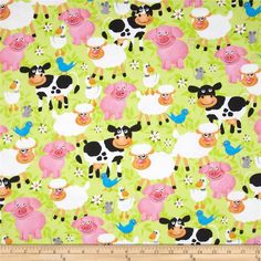 Flannel Smiling Animals Multi from @fabricdotcom  Designed for Fabri-Quilt, this soft, double-napped fabric (brushed on both sides) is perfect for quilting, apparel and crafts. Colors include white, brown, black, pink, blue, grey and green.
