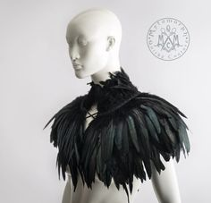 Feather capelet with high collar Feather shoulder wrap shrug Luxurious black feather cape. : Feather capelet with high collar Feather shoulder wrap shrug Luxurious black feather cape Versatile feather accessory Edgy fashion, Accessory Black Feather Cape, Raven Feather, Black Feather Dress, Dress Black, Coque Feathers, Mode Alternative, Alternative Wedding, Der Arm, Fantasy Costumes