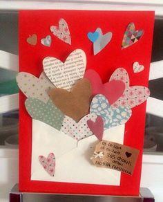 """""""Parole, Amore e Fantasia"""" - Biglietto Anniversario Matrimonio con materiali da riciclo."""