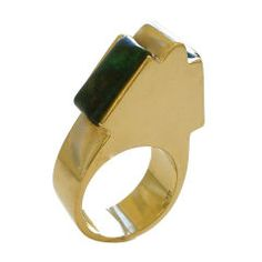 For Sale on - A modernist yellow gold and azure malachite* ring. The polished gold shank in the shape of a stylized pyramid,inset with a pair of azure malachite Jewelry Watches, Fine Jewelry, Jewelry Necklaces, Gold Rings, Gemstone Rings, Malachite Jewelry, Unusual Rings, Vintage Style Rings, Green And Gold