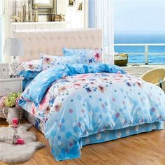 Free shipping 4 colors Printed modern style Bedding Sets bed linen for children King size Quilt Duvet Cover Pillow