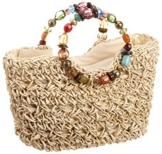 Cappelli Women's Light Maize Tote With Jeweled Handle Free Crochet Bag, Crochet Shell Stitch, Crochet Purses, Crochet Bags, Diy Bags Purses, Boho Bags, Craft Bags, Cute Bags, Knitted Bags