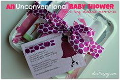 An Unconventional Baby Shower - Perfect for the mom-to-be that lives out of state but you still want to 'shower' with gifts. Could also work for a bridal shower as well.