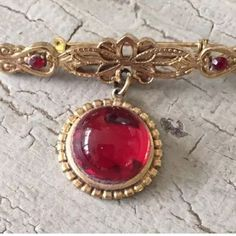 Red Stone Vintage Bar Pin