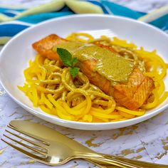Coconut Curry Organic Salmon with Butternut Squash Noodles Butternut Squash Noodle, Squash Noodles, Pasta Noodles, Coconut Curry, Coconut Milk, Organic Salmon, Salmon Fillets, Curry Paste, Seafood Recipes