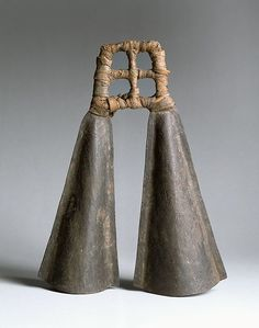 Africa | Republic of Cameroon | Double Bell | Iron | Late 19th centuryH.: 33 cm (13 in.); Diam. of each: 6.4 cm (2-1/2 in.) |