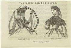 Jacket and waist ; Cape and dress. 1865 Peterson's