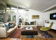 Mid-Century Mod | Pulp Design Studios | Mid-Century, Mid Century, Modern, MCM, Retro, Contemporary, Living Room, Den, Family Room, Fireplace, Brick, Windows, Floor to Ceiling, French Doors, White, Painted, Wood Floors, Flooring, Clean, Design, Interior, Decor, Ranch Style, Ranch House
