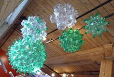 Plastic bottle orbs - so cool looking! No instructions, but inspiring.
