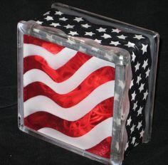 Waving Flag Glass Block Light