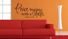 Art Wall Decals Wall Stickers Vinyl Decal Quote - Peace begins with a smile - Mother Teresa. $17.95, via Etsy.