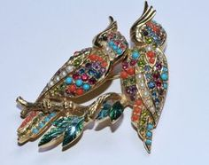Vintage gold tone figural D'orlan parakeet by RetroRecyclables