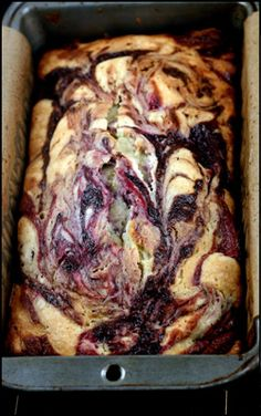 Double Berry Swirl Greek Yogurt Cake - Incredibly moist, with ribbons and ribbons of blackberry and raspberry puree!