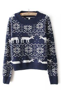 deer and snowflake sweater