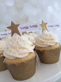 Twinkle, Twinkle, Little Star Sparkly Gold Star Cupcake Toppers, Set of 12 – Baby Shower Baby Shower Cupcakes Neutral, Elegant Baby Shower, Gender Neutral Baby Shower, Baby Shower Cakes, Baby Shower Parties, Baby Shower Themes, Baby Boy Shower, Baby Shower Decorations, Shower Ideas