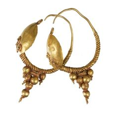 Pair of gold earrings from Ancient Egypt, Greco/Roman period, 100 BC – 200 AD - from the UCL Institute of Archaeology Collections.