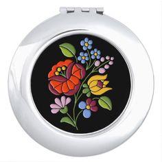 Kalocsa Embroidery - Hungarian Folk Art Compact Mirror