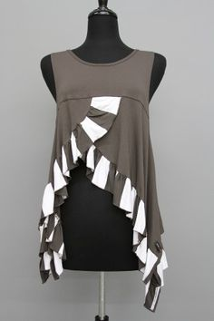 Escaladya Ruffle Tank-Great way to use stripes.