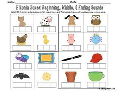 Elkonin Boxes: Beginning, Middle, & Ending Sounds  This set includes 16 Elkonin Box cards and a recording sheet.  Use the cards in a center with letter tiles or project them on your board and use as a whole group activity. Use the recording sheet to assess students' understanding.  This activity corresponds with Common Core standards.  ELACC1RF2c isolate and pronounce initial, medial vowel, and final sounds (phonemes) in spoken single-syllable words