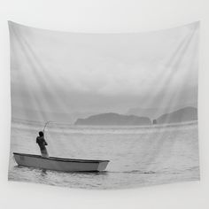 The Fish that Towed the Boat Wall Tapestry  #walltapestry #tapestry #tapestries #homedecor #art #costarica #blackandwhite #photography #fishing #ocean #coastal #coast