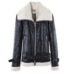 Stylish Turn-Down Collar Long Sleeve Fleece Lined PU Leather Black Jacket For Women Faux Leather Jackets, Pu Leather, Fur Jacket, Jackets For Women, Stylish, Long Sleeve, Coats, Clothes, Black