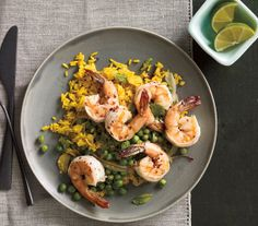 Spicy Shrimp With Peas and Curried Rice recipe