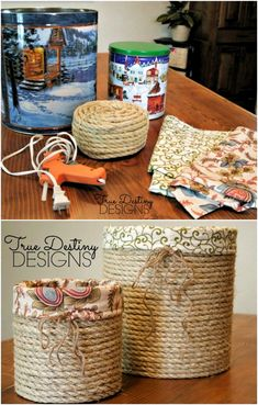 Stylish Lined Baskets From Popcorn Tins # easy DIY Gifts 20 Crazy Creative Popcorn Tin Repurposing Projects Rope Crafts, Recycled Crafts, Recycled Decor, Recycled Tin Cans, Wooden Crafts, Recycled Materials, Wooden Toys, Diy Simple, Easy Diy