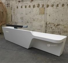 Modern Reception Desks Design Inspiration - Page 9 of 10 - The Architects Diary White Reception Desk, Reception Desk Design, Reception Counter, Office Reception, Commercial Design, Commercial Interiors, White Desk Office, Office Desks, Counter Design