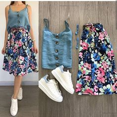 Which combination did you like the most? Your friends … - Summer Outfits Fashion Mode, Teen Fashion Outfits, Mode Outfits, Skirt Outfits, Stylish Outfits, Womens Fashion, Fashion Art, Fashion Shoes, Korean Fashion Dress