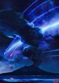 Night Sky Wallpaper, Anime Scenery Wallpaper, Of Wallpaper, Galaxy Wallpaper, Sky Anime, Pinturas Disney, Game Of Thrones Art, Kimi No Na Wa, Dark Photography