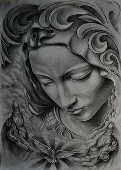 Tattoo Sketches, Tattoo Drawings, Tattoo Oma, Mago Tattoo, Religion Tattoos, Tattoo Bauch, Jesus Tattoo, Geniale Tattoos, Tattoo Project