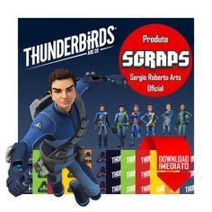 Thunderbirds Are Go - Kit Scrapbook Digital Elementos Papéis: Thunderbirds Are Go - Kit Scrapbook Digital Elementos Papéis - Download