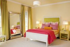 Chic Interior Design Presents Orange and Pink Nuance: Lovely Bedroom With Pink Blanket And Green Bolster